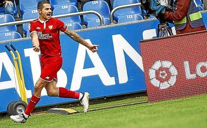 Vitolo celebra el 2-2 tras batir a Tyton.