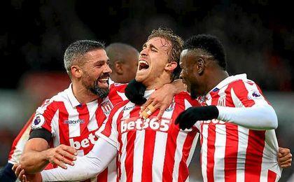 Muniesa marcó el pasado sábado uno de los goles del Stoke ante el Burnley.