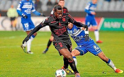 Balotelli, en el partido ante el Bastia.
