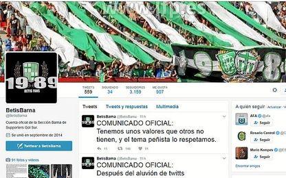 Perfil de Betis Barna en Twitter.