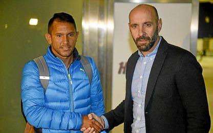 Montoya, a su llegada a Sevilla.