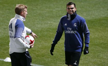 Pepe, en un entrenamiento con el Real Madrid. UESyndication.