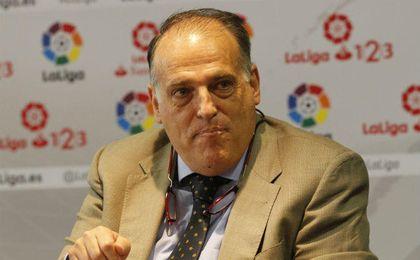 Javier Tebas, en una rueda de prensa.