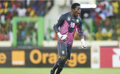 Fabrice Ondoa, en un partido con la selección camerunesa.