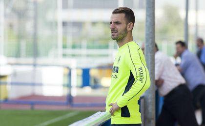 Soldado, en un entrenamiento con el Villarreal CF. UESyndication.