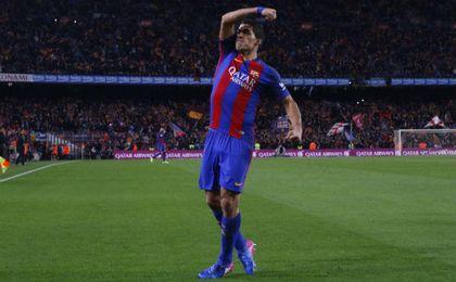 Suárez celebra el tanto marcado ante el Atlético en las semifinales de Copa.