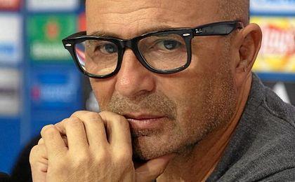 Sampaoli, en la rueda de prensa previa al partido contra el Leicester.