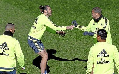 Pepe y Bale durante un entrenamiento del Real Madrid