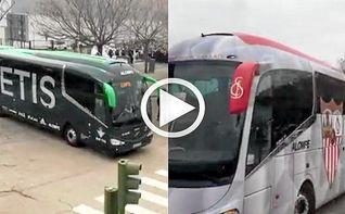 Así han sido las llegadas del Sevilla y del Betis al Villamarín