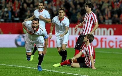 Iborra celebra su gol al Athletic Club.