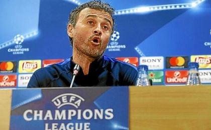 Luis Enrique, técnico del Barcelona, en sala de prensa.