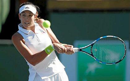 La tenista española Garbiñe Muguruza durante un partido de la tercera ronda del torneo de Indian Wells.