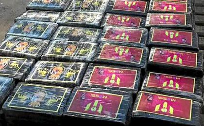 Decomisan casi 1,5 toneladas de cocaína con imagen de Messi