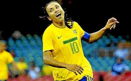 Marta Vieira, con la selección de Brasil en los pasados Juegos de Río.