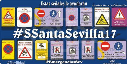 Imagen de algunas de las señales que se podrán ver por Sevilla en Semana Santa.