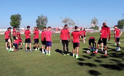 Imagen del entrenamiento del Sevilla.