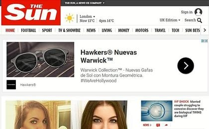 La cabecera de la web de The Sun.