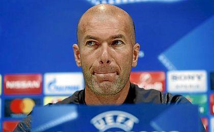 Zidane, durante la rueda de prensa de este mediodía.