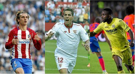 Griezmann, Ben Yedder y Bakambu, los goleadores de Atlético, Sevilla y Villarreal.