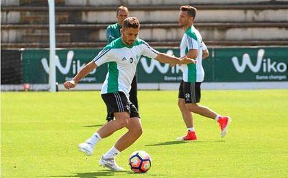 Imagen del entrenamiento del Betis en el día de hoy.