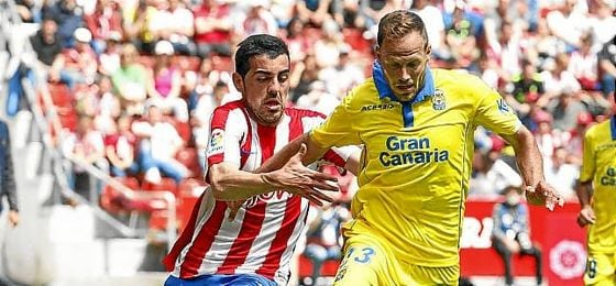Dani Castellano, en el Sporting-Las Palmas de esta temporada.