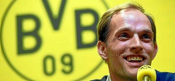 Tuchel, en una rueda de prensa con el Dortmund.