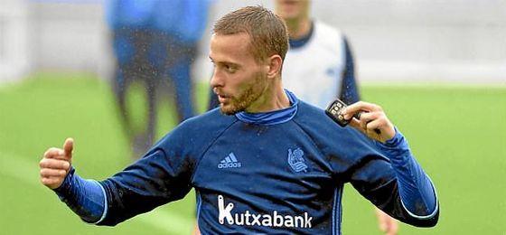 Canales, en un entrenamiento de la Real Sociedad.