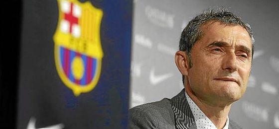 Valverde, durante su presentación con el Barcelona.