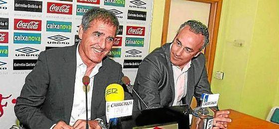 Paco Herrera, ahora entrenador del Valladolid, junto a Miguel Torrecilla, ex director deportivo del Betis.