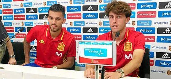 Dani Ceballos ha compareció en rueda de prensa junto a Odriozola.