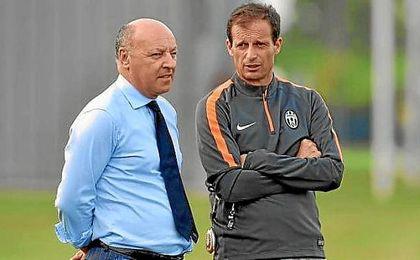 Marotta y Allegri, en un entrenamiento de la Juventus.