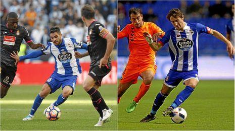 Carles Gil y Pedro Mosquera, con el Deportivo.
