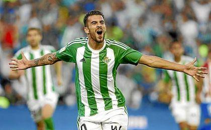 Ceballos, celebrando un gol en el Benito Villamarín
