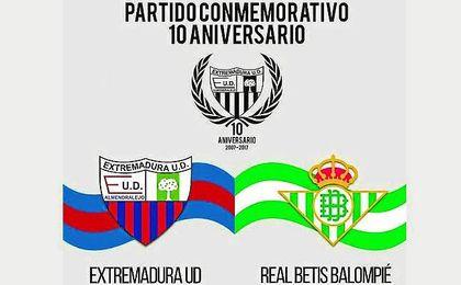 Cartel del partido amistoso entre el Extremadura y Real Betis