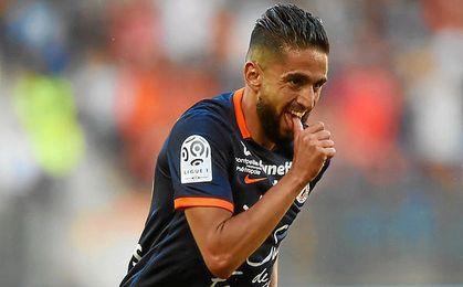 Boudebouz celebra un gol con el Montpellier.