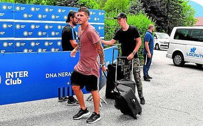 Jovetic, junto a Perisic durante la pretemporada del Inter.
