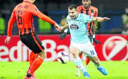 Jonny Castro, durante un partido de Europa League entre el Celta y el Shakhtar.