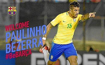 Así ha anunciado el Barcelona la llegada de Paulinho.