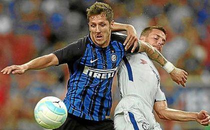 Jovetic, en un partido de pretemporada con el Inter.