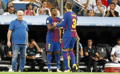Piqué, en el momento de ser sustituido en el partido de vuelta de la Supercopa.