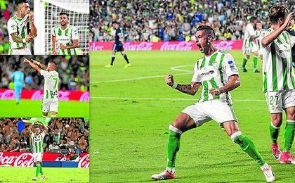 Las celebraciones del delantero del Betis.