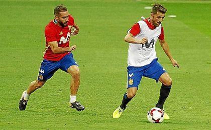 David Villa, en un entrenamiento con la selección.