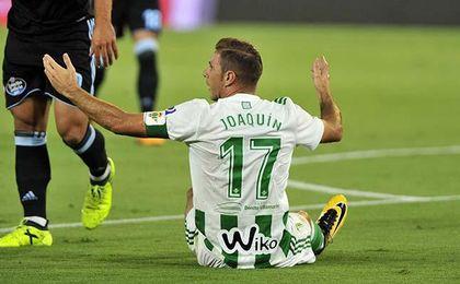 Joaquín, en el partido ante el Celta de la jornada 2.