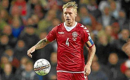 Simon Kjaer, en un partido con Dinamarca.