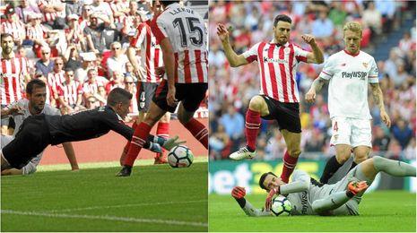 Kepa y Rico atajan el balón en dos acciones del partido de San Mamés.