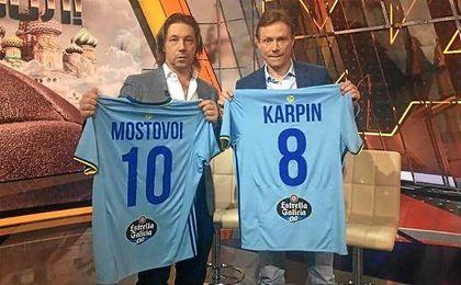 Mostovoi, junto a Karpin, en la televisión rusa.