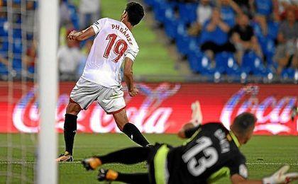 Ganso celebra el tanto de tacón anotado contra el Getafe.