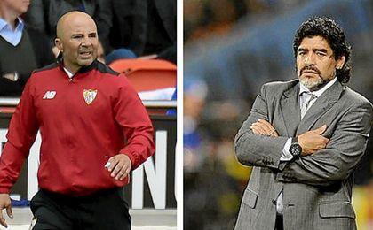 """La llamada a Maradona del """"vendehumo"""" Sampaoli para su proyecto en el Sevilla"""