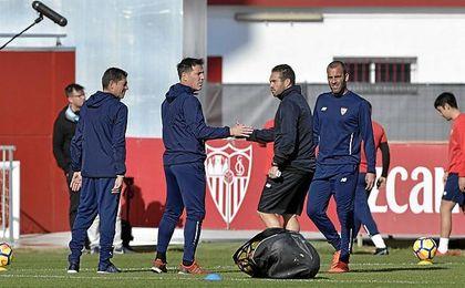 Berizzo ha dirigido al equipo en el entrenamiento de este miércoles.