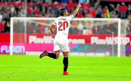 Luis Muriel celebra el gol que le marcó el pasado sábado al Celta en el Sánchez-Pizjuán.